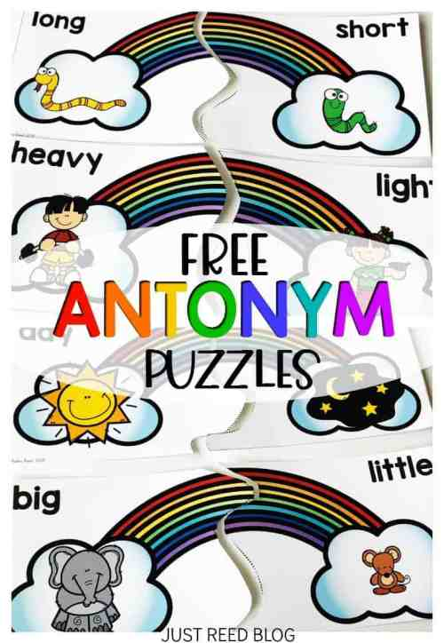 FREE Rainbow antonym puzzles for literacy centers.  These are perfect for your March literacy centers!