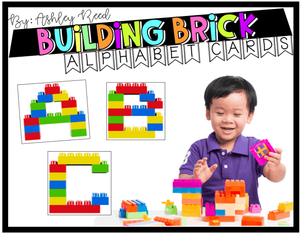Combine fine motor practice and literacy with these building brick alphabet cards.