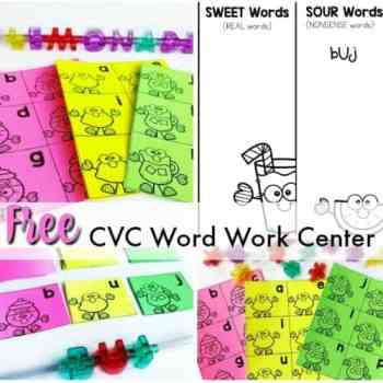 FREE CVC Word Work Center for Emergent Readers