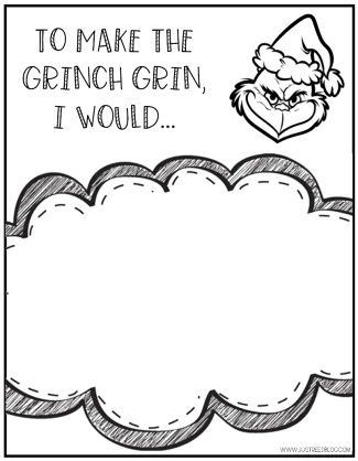 This fun response page asks children to tell how they would make the Grinch Grin. It's perfect for Grinch Day!