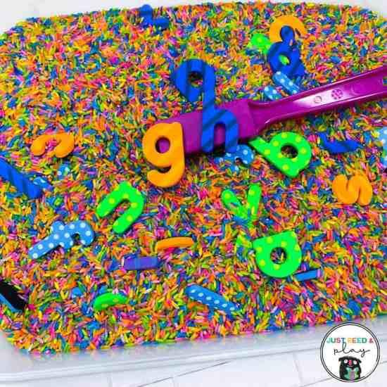 ABC letter magnet sensory bin