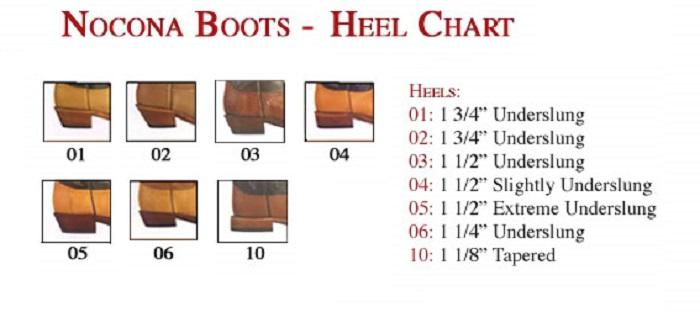 Nocona Heel Chart