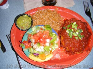 Chimichanga with rice, salad & Guacamole