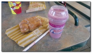 Berry Smoothie and blueberry fritter