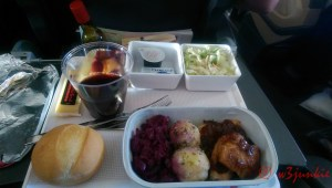 Airline Food - Chicken-Red cabbage-potato dumplings