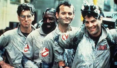The original Ghostbusters, Egon Spengler (Harold Ramis), Winston Zedmore (Ernie Hudson), Peter Venkman (Bill Murray) and Ray Stanz (Dan Aykroyd)