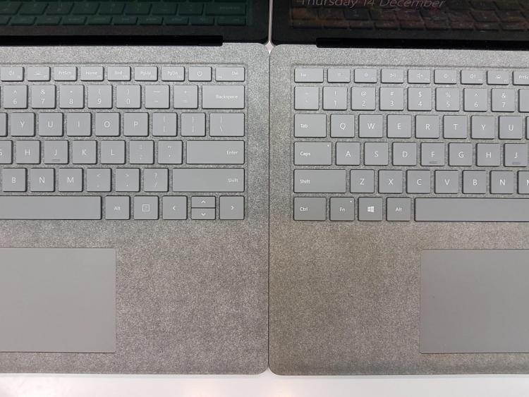 Alcantara Fabric on a brand new Surface Laptop, compared to a 3-month-old one. (Credit: https://www.reddit.com/r/Surface/comments/7jqdrt/brand_new_vs_3_months_old_alcantara_on_the/)