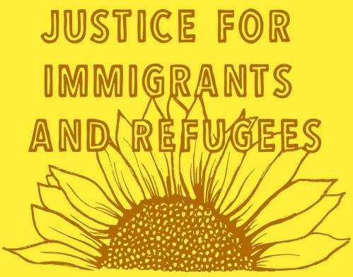 Protest Poster - Justice for Immigrants and Refugees - Nicolas Lampert