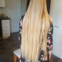 11.5 inches of virgin blonde hair