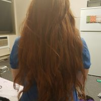 24in long, 4in around, naturally red hair.