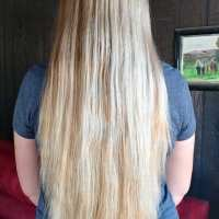 "16"" thick blonde hair with natural highlights"