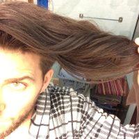 9 inches/white male/virgin hair/dark dark brown
