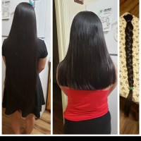 "16"" Virgin straight black hair"