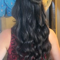 18 inches of thick brunette hair