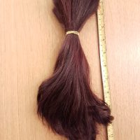 10 inches of dyed dark brown straight hair