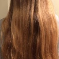 Blonde untreated naturally highlighted layered hair
