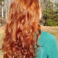 "17""-20"" of thick vibrant red hair"