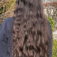 17 inches of virgin brown hair with 2a-1b curl pattern and 2.5 inches thick