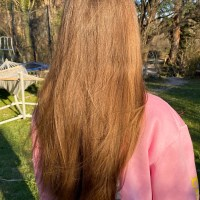 8 inches / 20cm of my virgin, straight, golden brown hair