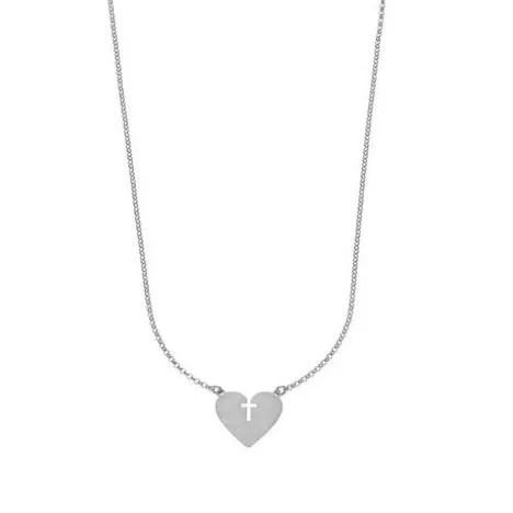 Collana escapulario mariasalvador in argento 925 con cuore e croce santiagospirit, silver, necklace, escapulario, madeinitaly, fashion