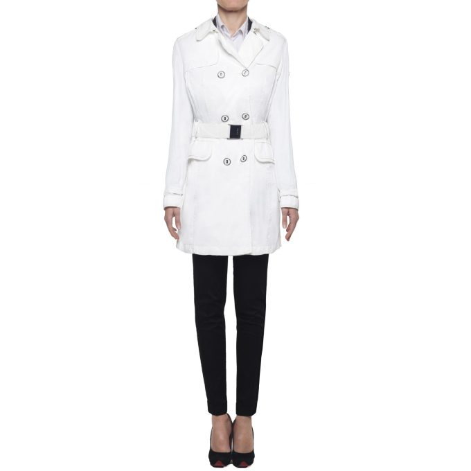 GEOSPIRIT - waterproof trench coat white woman with double-breasted white belt IT 44