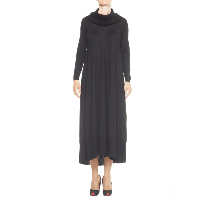 X'S Milano, vestito lana, vestito lungo lana, abito donna nero, abito lungo lana , abito collo a ciambella, INT S
