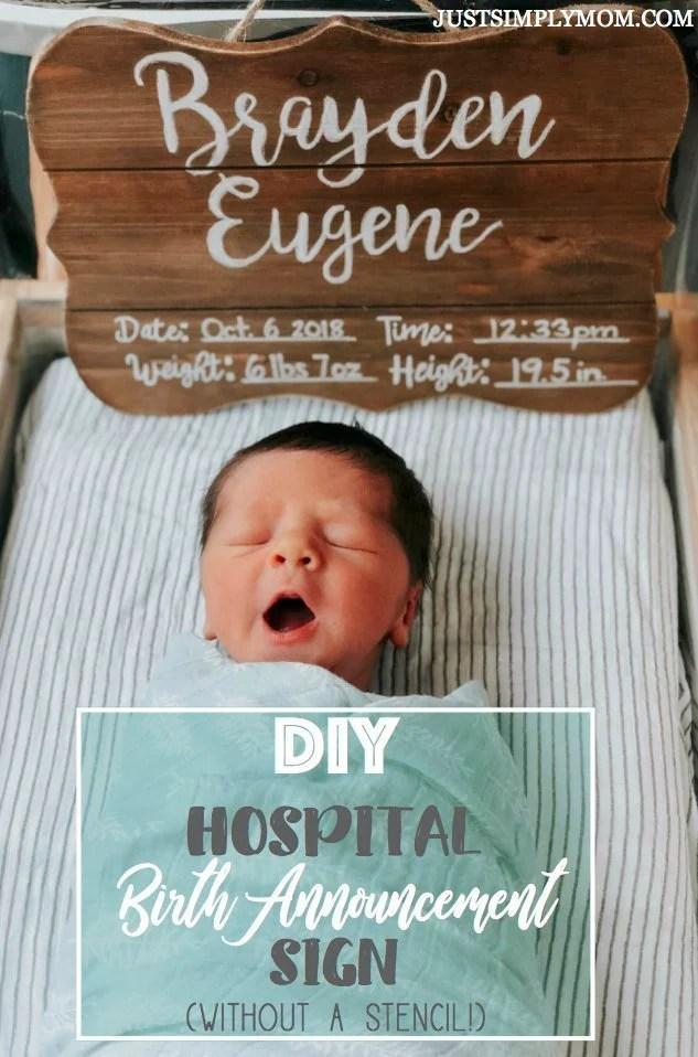 Simple DIY Wooden Hospital Birth Announcement
