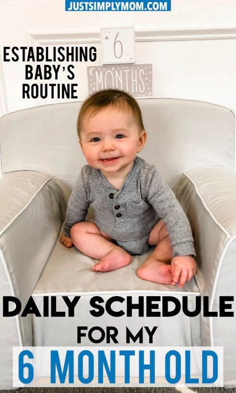 Getting your 6 month old baby on a daily schedule can help with their nighttime sleep. Having a consistent and predictable routine will decrease fussiness and irritability and make for a happier and more pleasant infant. Follow these tips and schedule for feeding, naps, sleep, and play.