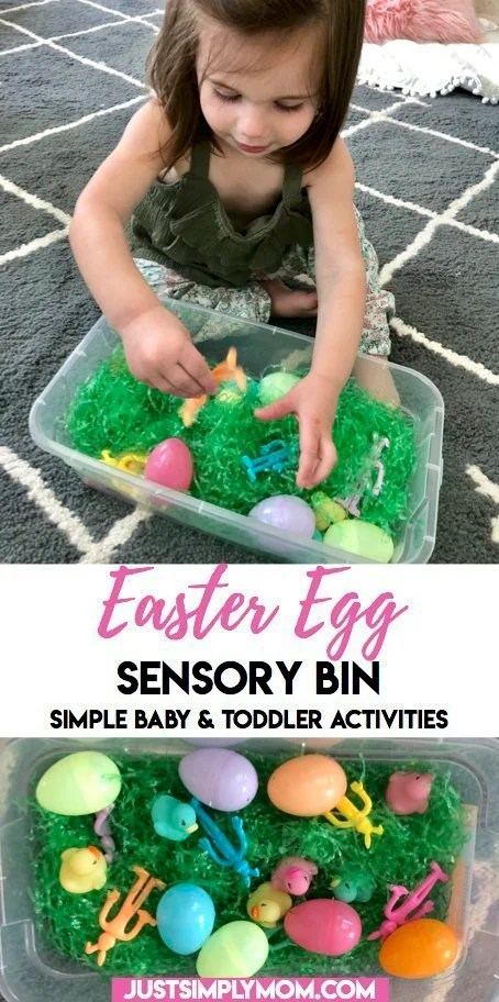 Try this simple Easter egg sensory bin with your baby or toddler. Easy to set up and using household items. Improve fine motor skills and language with this activity.