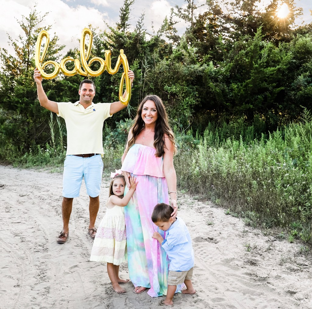 Pregnancy announcement with siblings or multiple kids and baby balloon
