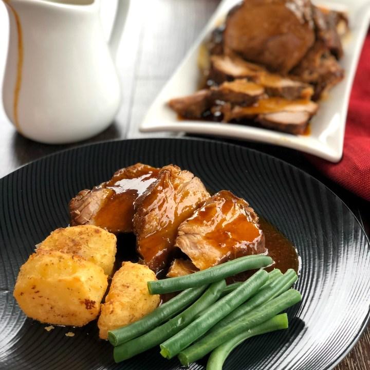 Slow Cooker Roast Pork with Honey Garlic Butter Gravy