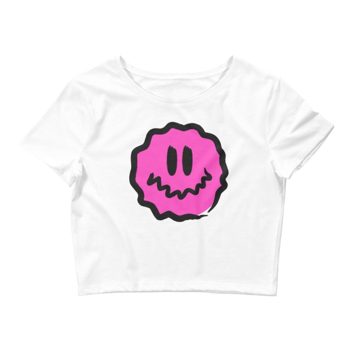 pink antsyface crop tee white