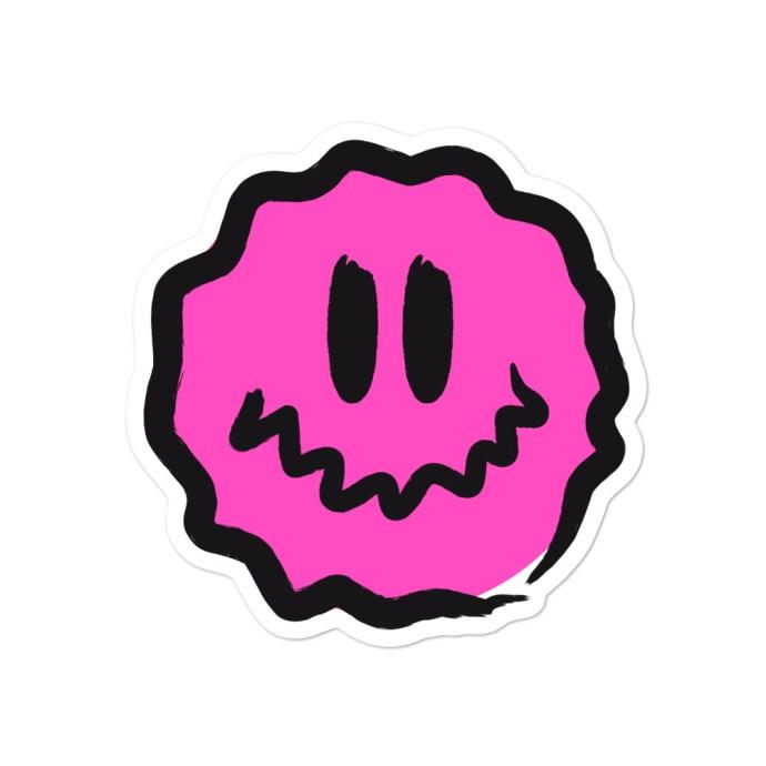 pink antsyface sticker - 4x4