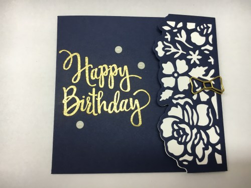 Stampin Up Detailed Floral Thinlits Happy Birthday fun fold card idea - Jeanie Stark StampinUp