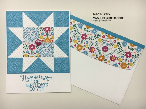 Stampin Up Birthday Blooms Quilt card idea - Jeanie Stark StampinU
