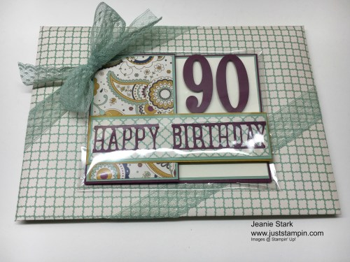 Stampin Up 90th Birthday card idea using Party Pop Up Thinlits and Large Numbers Framelits - Jeanie Stark StampinUp
