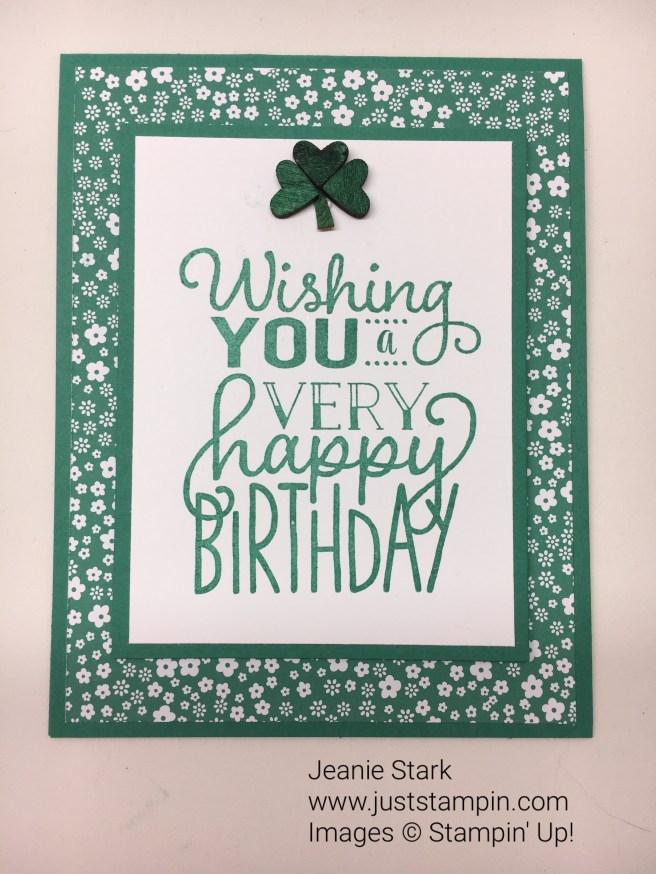 Big on Birthdays St. Patrick's Day birthday card idea - Jeanie Stark StampinUp