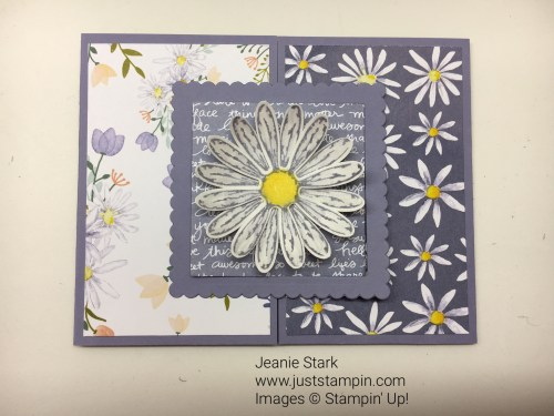 Stampin up fun fold card idea using Delightful Daisy Designer Series Paper -Jeanie Stark StampinUp