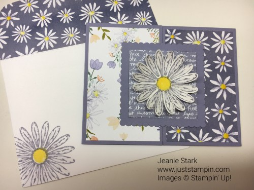 Stampin up fun fold card idea using Daisy Delight stamp set and Delightful Daisy Designer Series Paper -Jeanie Stark StampinUp