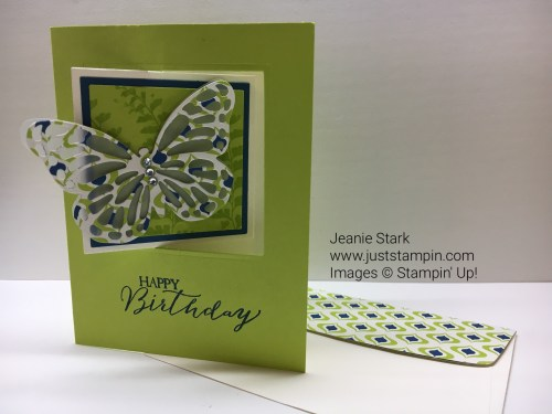 Stampin Up Happy Birthday fun fold lever card using Butterfly Basics stamp set and Butterflies Thinlits. For more fun fold card ideas and inspiration visit www.juststampin.com