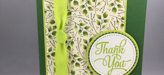 Stampin Up Thank You card using One Big Meaning Stamp Set, Layering CIrcles Framelits, and Painted Autumn Designer Series Paper. For inspiration and supplies visit www.juststampin.com