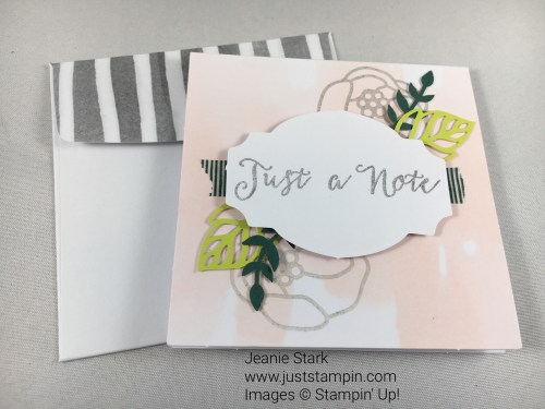 Stampin Up Soft Sayings Card kit. For inspiration, classes, and supplies visit www.juststampin.com