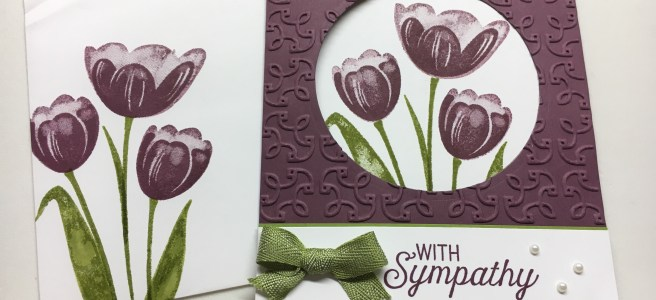 Fun Fold Sympathy card with Stampin Up Tranquil Tulips and Flourishing Phrases Stamp Sets.