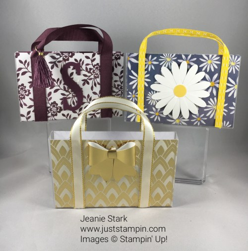 Quick & Easy Daisy Tote Bag made with a Clear Acetate Card Box, Designer Series Paper, Ribbon, and Stampin Up Daisy Punch. For directions, supplies, and more visit www.juststampin.com