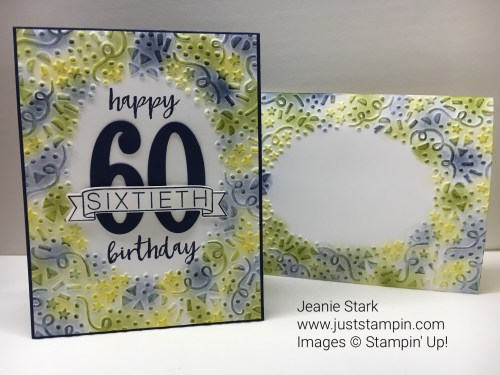 Stampin Up Milestone Moments and Large Number Dies birthday card idea - Jeanie Stark StampinUp
