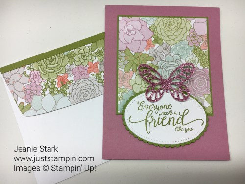 Stampin Up Clean & Simple Suite Sentiments Bold Butterfly thank you friend card idea -Jeanie Stark StampinUp