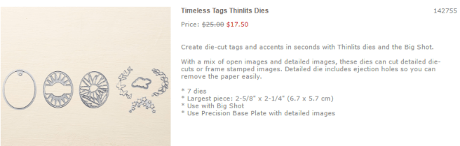 Timless Tags Thinlits