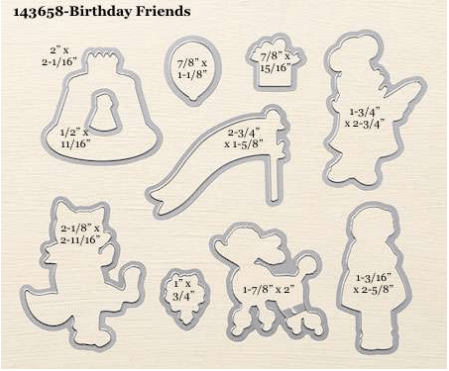 Stampin Up Birthday Friends Framelits Dies. For ideas, ordering, and more visit www.juststampin.com