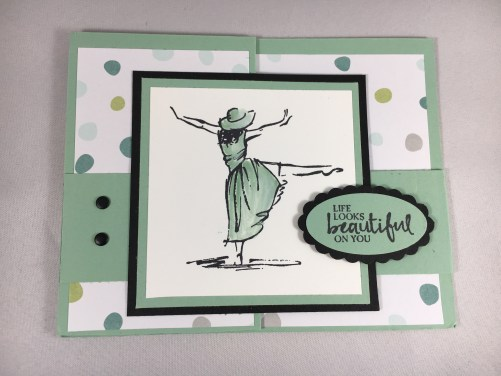 Stampin Up Double Z Fold Birthday card made using the Beautiful You stamp set. For more fun fold card ideas and inspiration visit www.juststampin.com