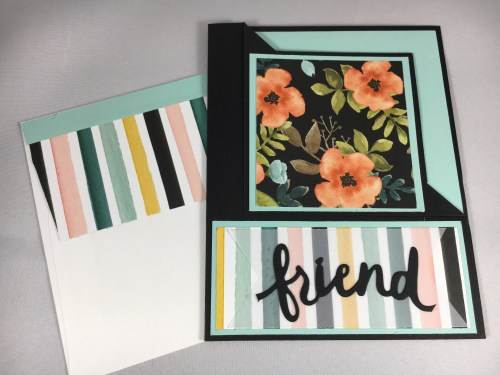 Stampin Up fun fold friend card using Lovely Words Thinlits and Whole Lot of Lovely Designer Series Paper. For more fun fold card ideas and projects visit www.juststampin.com